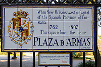 French Quarter, New Orleans, Louisiana.  Street Sign Giving Plaza Name from Period of Spanish Rule: Plaza de Armas (Jackson Square).