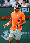 Roger Federer (SUI) during the final against Novak Djokovic (SRB) at the BNP Parisbas Open in Indian Wells, CA on March 22, 2015.