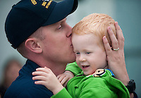 100911-N-7981E-440 .SAN DIEGO (Sept. 11, 2010) Fire Controlman 1st Class Logan Brethower kisses his son good-bye on the pier before deploying aboard the guided-missile destroyer USS Halsey (DDG 97). Halsey deployed with the Abraham Lincoln Carrier Strike Group as part of an ongoing rotation of forward-deployed forces to support maritime security operations around the globe. (U.S. Navy photo by Mass Communication Specialist 2nd Class James R. Evans/Released).