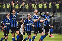 9th February 2020, Milan, Italy; Serie A football, AC Milan versus Inter-Milan;  The players of Inter Milan celebrate as they take the lead in the 70th minute