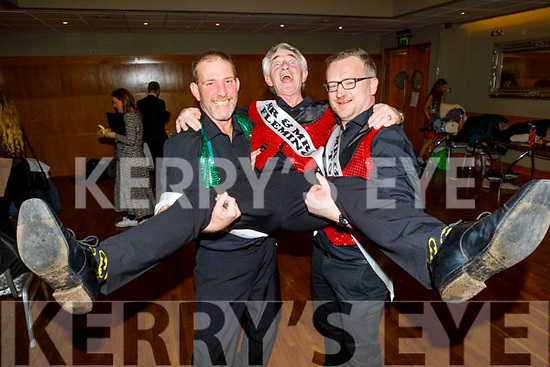 """Derry Fleming gets a leg up from Martin Nix and Ken Tobin backstage at the Tralee Musical Society """"Strictly Come Dancing"""" Mr and Mrs in Ballyroe Heights Hotel on Saturday."""