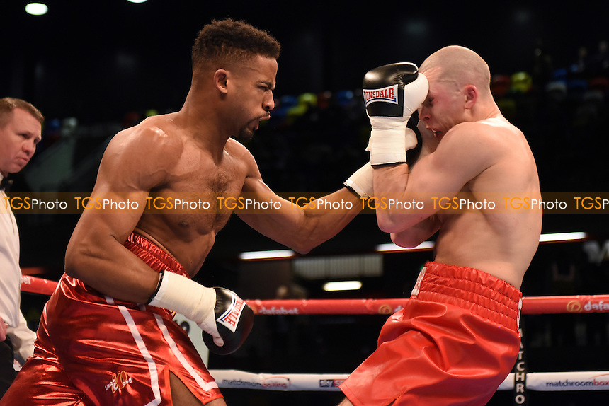 Deion Jumah (L) defeats Colin Farricker during a Boxing show at the Copper Box Arena, promoted by Matchroom Sports