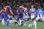 04.02.2012. Barcelona, Spain. Leo Messi in action during La Liga match between FC Barcelona against Real Sociedad at Camp Nou