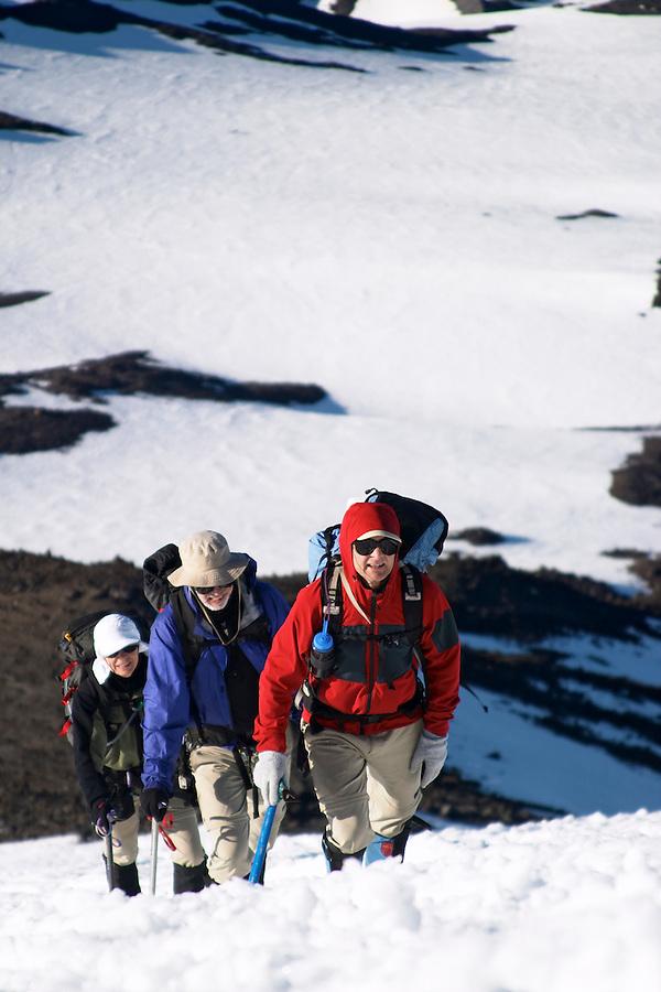 Two men and a woman climbing up snow on Mount Adams, Yakima County, Cascade  Mountains, Washington, USA
