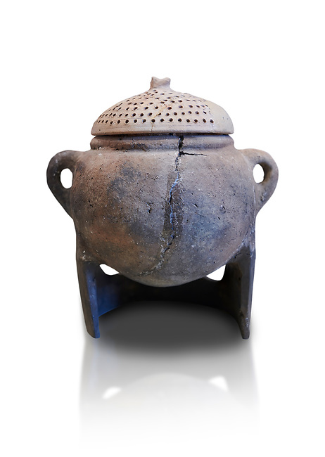 Hittite terra cotta cooking pot with perforated lid on a charcoal burner pot stand. Hittite Empire, Alaca Hoyuk, 1450 - 1200 BC. Çorum Archaeological Museum, Corum, Turkey. Against a white bacground.