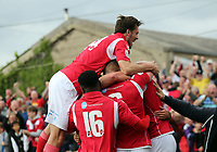Dave Winfield of Ebbsfleet United is congratulated after scoring the opening Ebbsfleet goal during Ebbsfleet United vs Chelmsford City, Vanarama National League South Play-Off Final Football at The PHB Stadium on 13th May 2017