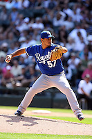 August 15 2008:  Pitcher Joel Peralta of the Kansas City Royals during a game at U.S. Cellular Field in Chicago, IL.  Photo by:  Mike Janes/Four Seam Images