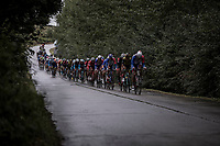 Peloton chasing the break away group.<br /> <br /> 78th Euro Metropole Tour 2018<br /> La Louvi&egrave;re &ndash; Tournai (BEL): 206km