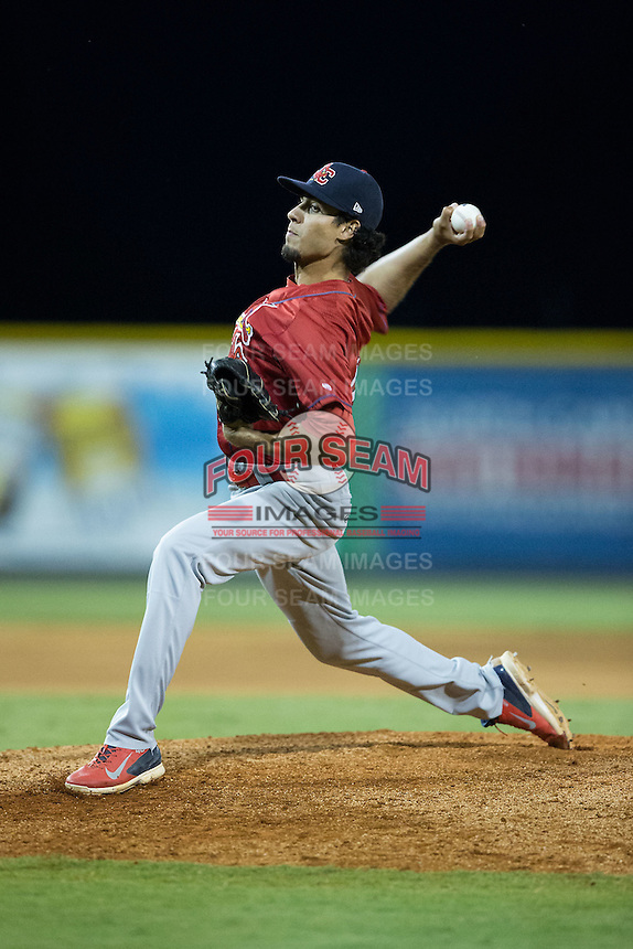Johnson City Cardinals relief pitcher Juan Caballero (27) in action against the Burlington Royals at Burlington Athletic Park on August 22, 2015 in Burlington, North Carolina.  The Cardinals defeated the Royals 9-3. (Brian Westerholt/Four Seam Images)