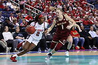 GREENSBORO, NC - MARCH 07: Kaila Ealey #2 of North Carolina State University is defended by Cameron Swarz #1 of Boston College during a game between Boston College and NC State at Greensboro Coliseum on March 07, 2020 in Greensboro, North Carolina.