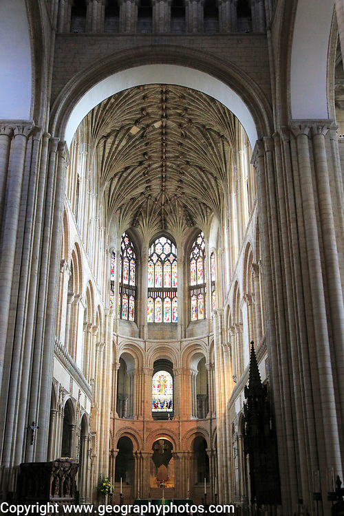 Interior of Norwich cathedral church, Norwich, Norfolk, England, UK