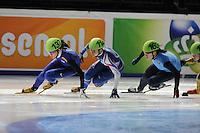 SCHAATSEN: DORDRECHT: Sportboulevard, Korean Air ISU World Cup Finale, 10-02-2012, Ha-Ri Cho KOR (137), Katerina Novotna CZE (114), Tamara Frederick USA (163), ©foto: Martin de Jong