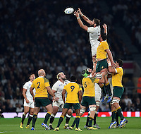 Geoff Parling of England rises high to win lineout ball. Rugby World Cup Pool A match between England and Australia on October 3, 2015 at Twickenham Stadium in London, England. Photo by: Patrick Khachfe / Onside Images