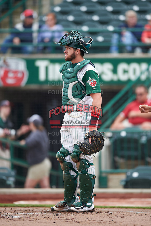Fort Wayne TinCaps catcher Austin Allen (23) during the second game of a doubleheader against the Great Lakes Loons on May 11, 2016 at Parkview Field in Fort Wayne, Indiana.  Great Lakes defeated Fort Wayne 5-0.  (Mike Janes/Four Seam Images)