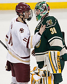 Chris Calnan (BC - 11), Pat Feeley (UVM - 30) - The Boston College Eagles defeated the University of Vermont Catamounts 7-4 on Saturday, March 11, 2017, at Kelley Rink to sweep their Hockey East quarterfinal series.The Boston College Eagles defeated the University of Vermont Catamounts 7-4 on Saturday, March 11, 2017, at Kelley Rink to sweep their Hockey East quarterfinal series.
