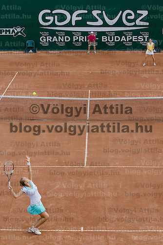 Agnes Szavay (HUN, bottom left) playing a winning match against Patty Schnyder (CHE, top right) during the final of the Gaz de France Suez WTA tour Grand Prix international women tennis competition held at Roman Tennis Academy in Budapest, Hungary. Sunday, 12. July 2009. ATTILA VOLGYI