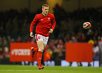 1st February 2020; Millennium Stadium, Cardiff, Glamorgan, Wales; International Rugby, Six Nations Rugby, Wales versus Italy; Johnny McNicholl of Wales warms up before the match
