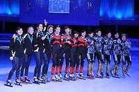 SCHAATSEN: DORDRECHT: Sportboulevard, Korean Air ISU World Cup Finale, 12-02-2012, Podium Relay Ladies, Team USA, Alyson Dudek, Tamara Frederick, Lana Gehring, Emily Scott, Team CHN, Kexin Fan, Jianrou Li, Meng Lin, Qiuhong Liu, Team JPN, Ayuko Ito, Yui Sakai, Biba Sakurai, Sayuri Shimizu, Yasuko Sakashita, ©foto: Martin de Jong