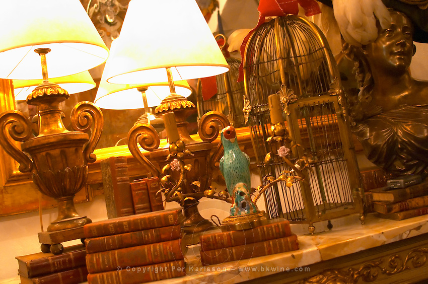 Interior of an antique shop in the San Telmo district around Plaza Dorrego Square, old books, wrought iron lamp a ceramic bird, bird cage, bust of a woman and other paraphernalia. Calle Defensa Defence street Buenos Aires Argentina, South America