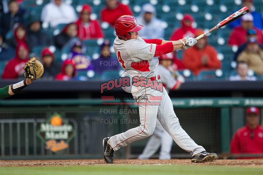 Houston Cougars outfielder Price Jacobs #44 swings the bat against the Baylor Bears in the NCAA baseball game on March 2, 2013 at Minute Maid Park in Houston, Texas. Houston defeated Baylor 15-4. (Andrew Woolley/Four Seam Images).