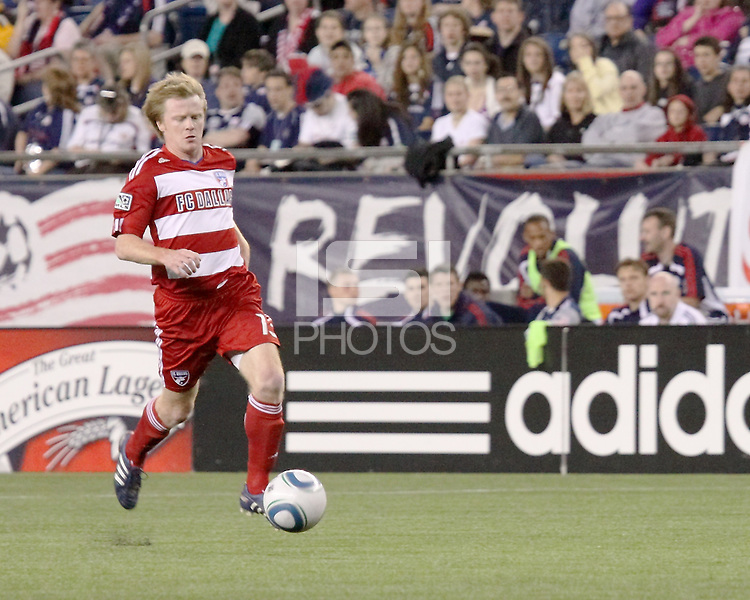 FC Dallas midfielder/forward Dax McCarty(13) dribbles the ball.  The New England Revolution drew FC Dallas 1-1, at Gillette Stadium on May 1, 2010