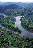 Aerial view of Jari River coming down from Guyana Highlands and lush rainforest in the Amazon region, Brazil ( border between Para and Amapa)