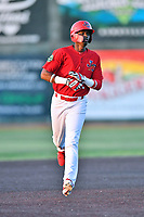 Johnson City Cardinals Carlos Soler (13) rounds the bases after hitting a home run during game one of the Appalachian League Championship Series against the Burlington Royals at TVA Credit Union Ballpark on September 2, 2019 in Johnson City, Tennessee. The Royals defeated the Cardinals 9-2 to take the series lead 1-0. (Tony Farlow/Four Seam Images)