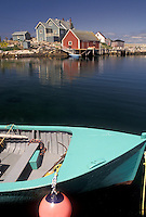 fishing village, Peggy's Cove, Lobster fishing boat, Nova Scotia, NS, Canada, Atlantic Ocean, Scenic view of the fishing village of Peggy's Cove in Nova Scotia.