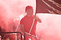 Portland, OR - Saturday August 05, 2017: Portland Thorns FC fans celebrate during a regular season National Women's Soccer League (NWSL) match between the Portland Thorns FC and the Houston Dash at Providence Park.