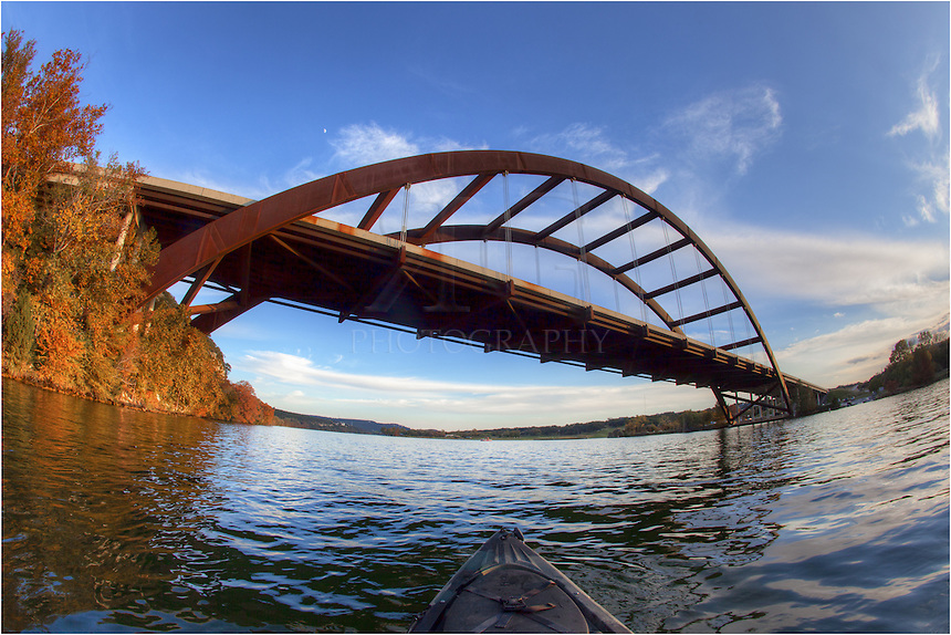 Nothing beats a sunny afternoon in Austin, Texas. This image is similar to the other kayak photograph, but from a slightly different angle. I spent this evening kayaking around on the Colorado River underneath Pennybacker Bridge (the 360 Bridge). This image was taking with a 15mm fisheye lens. You can see the end of the kayak poking into the frame.