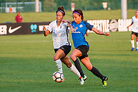 Kansas City, MO - Wednesday August 16, 2017: Dominique Richardson, Sydney Leroux Dwyer during a regular season National Women's Soccer League (NWSL) match between FC Kansas City and Sky Blue FC at Children's Mercy Victory Field.