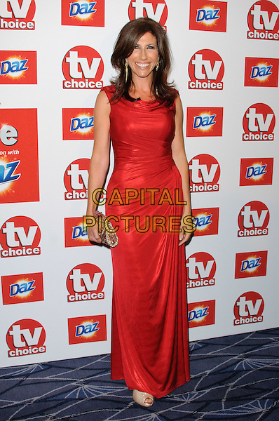 Gaynor Faye.TV Choice Awards 2011 Arrivals held at the Savoy Hotel, London, England..September 13th, 2011.full length red dress sleeveless  .CAP/CJ.©Chris Joseph/Capital Pictures.