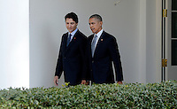 United States President Barack Obama, right, and Prime Minister Justin Trudeau of Canada, left, walk on the Colonnade to the Oval Office following an Arrival Ceremony on the South Lawn of the White House in Washington, DC on Thursday, March 10, 2016. Photo Credit: Olivier Douliery/CNP/AdMedia