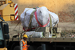 Egyptian workers use crane to lift the statue, recently discovered by a team of German-Egyptian archeologists before transport it to Egyptian museum in Cairo, Egypt on March 15, 2017. Statues of the kings and queens of the nineteenth dynasty (1295 - 1185 BC) were unearthed in the vicinity of the Temple of Ramses II in what was the old Pharonic city. Photo by Amr Sayed