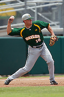 Baylor Bears third baseman Cal Towey #18 throws the ball to second base during the NCAA Regional baseball game against Oral Roberts University on June 3, 2012 at Baylor Ball Park in Waco, Texas. Baylor defeated Oral Roberts 5-2. (Andrew Woolley/Four Seam Images)