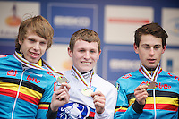 Thijs Aerts (BEL) as the new Juniors CX World Champion besided by his countrymen Yannick Peeters (BEL, 2nd) &amp; Jelle Schuermans (BEL, 3rd)<br /> <br /> 2014 UCI cyclo-cross World Championships, Junior Men