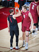 STANFORD, CA - March 14, 2019: Kyle Dagostino, Leo Henken at Maples Pavilion. The #8 Stanford Cardinal fell to the #6 Pepperdine Waves 3-0.