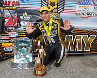 Sep 5, 2016; Clermont, IN, USA; NHRA top fuel driver Tony Schumacher celebrates after winning the US Nationals and the Traxxas Shootout at Lucas Oil Raceway. Mandatory Credit: Mark J. Rebilas-USA TODAY Sports