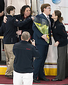 Peter Igo (BC - Manager), Courtney Kennedy (BC - Associate Head Coach), Grant Slingerland (BC - Manager), Katie King Crowley (BC - Head Coach) -  The Boston College Eagles defeated the visiting Boston University Terriers 5-0 on BC's senior night on Thursday, February 19, 2015, at Kelley Rink in Conte Forum in Chestnut Hill, Massachusetts.