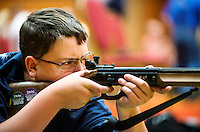 Nick Hooker (cq, age 14) with Patrick County practice shoot at the 2014 Daisy National BB Gun Championship Match in Rogers, Arkansas, Friday, July 4, 2014.<br /> <br /> Photo by Matt Nager