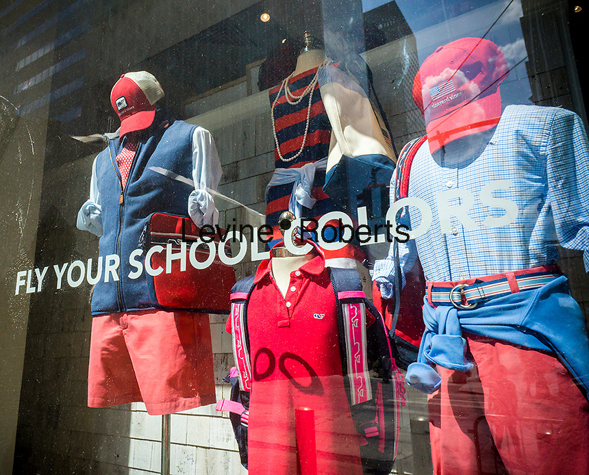 A window display promotes back-to-school shopping in New York on Sunday, August 14, 2016. (© Richard B. Levine)
