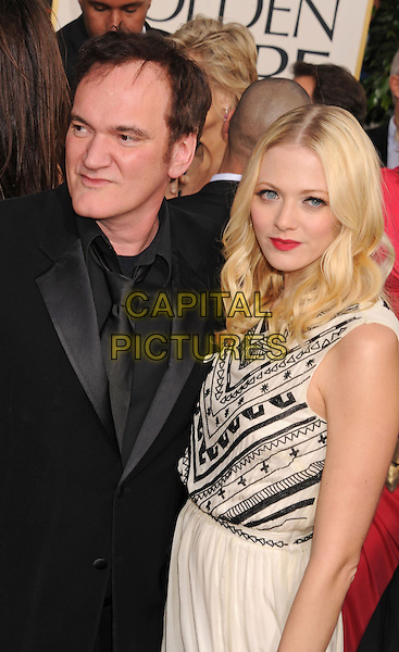 Quentin Tarantino & guest.Arrivals at the 70th Annual Golden Globe Awards held at the Beverly Hilton Hotel, Hollywood, California, USA..January 13th, 2013.globes half length black suit dress white black pattern.CAP/GAG.©GAG/Capital Pictures