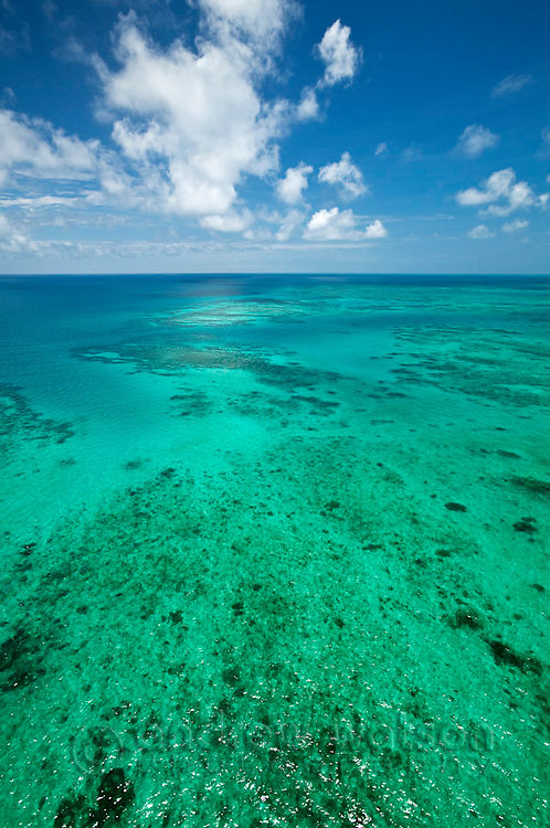 Aerial view of Vlassof Reef, near Cairns.  Great Barrier Reef Marine Park, Queensland, Australia