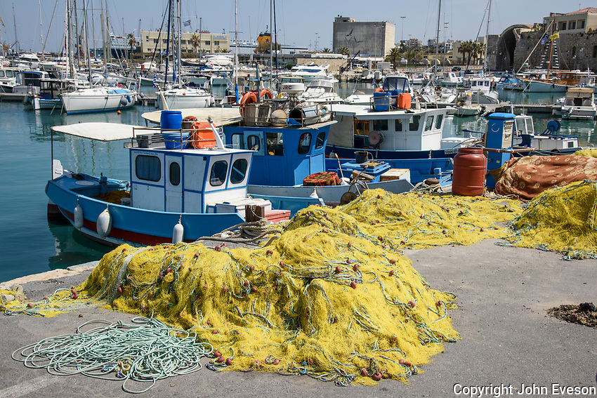 Fishing boats in the port at Heraklion, the largest city and the administrative capital of the island of Crete. It is the fourth largest city in Greece