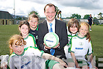 Joe Lyne, National Irish Bank, Killarney congratulates Tara McCarthy, Orlaith Cronin, Melissa Buckley, Niamh Kearney and Alision Keogh who graduated from the FAI soccer camp in Celtic Park, Killarney on Friday.   Copyright Kerry's Eye 2008