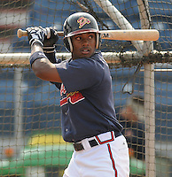 July 15, 2009: 2009 draft pick infielder Mycal Jones (1) of the Danville Braves, 4th round draft pick of the Atlanta Braves, prior to a game against the Elizabethton Twins at Dan Daniel Memorial Park in Danville, Va. Photo by:  Tom Priddy/Four Seam Images