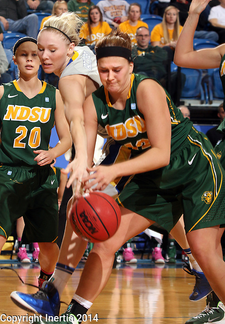 BROOKINGS, SD - FEBRUARY 22:  Mariah Clarin #40 from South Dakota State University battles for the loose ball with Holly Johnson #12 from North Dakota State University in the first half of their game Saturday afternoon at Frost Arena in Brookings.  (Photo by Dave Eggen/Inertia)