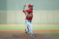 Carolina Mudcats relief pitcher Clayton Andrews (49) in action against the Winston-Salem Dash at BB&T Ballpark on June 1, 2019 in Winston-Salem, North Carolina. The Mudcats defeated the Dash 6-3 in game one of a double header. (Brian Westerholt/Four Seam Images)