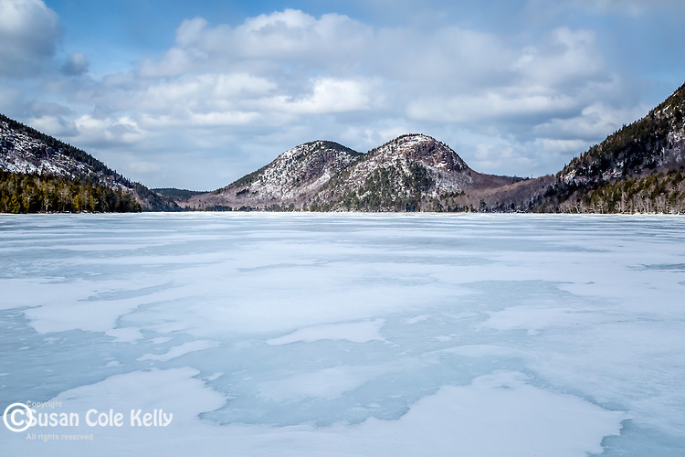 Winter at Jordan Pond in Acadia National Park, Maine, USA