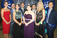 NWA Democrat-Gazette/CARIN SCHOPPMEYER Shea Nuckols (from left), Corey Ball, Brandi McKinney, J.P. Lascalere, Ashley Batchelor, Alex Ahmad, Andrea Albright and Blue Mhoon, Cool Summer Homecoming Gala court candidates gather for photo  at the Kendrick Fincher Hydration Foundation benefit Aug. 20 at the Fayetteville Town Center.